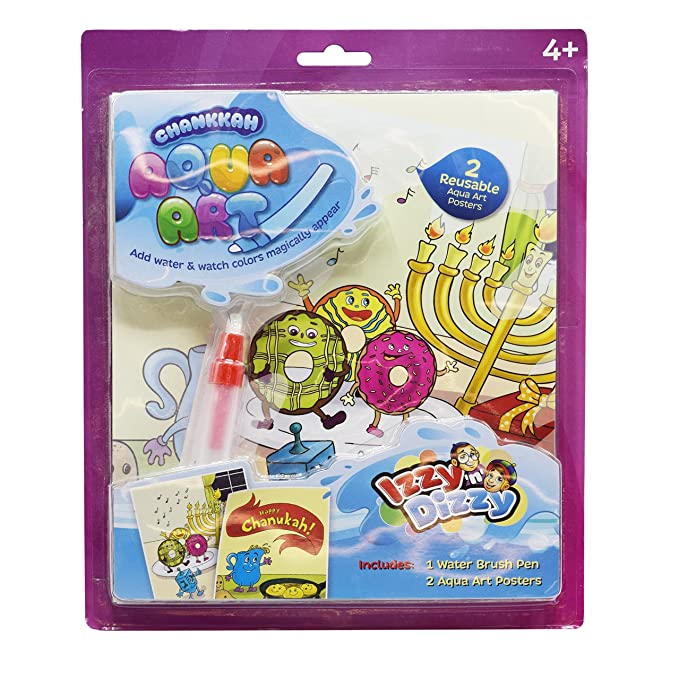 Izzy 'n' Dizzy Chanukah Aqua Art Kit - Includes 1 Water Brush Pen, 2 Reusable Posters - Hanukah Arts and Crafts - Gifts and Games
