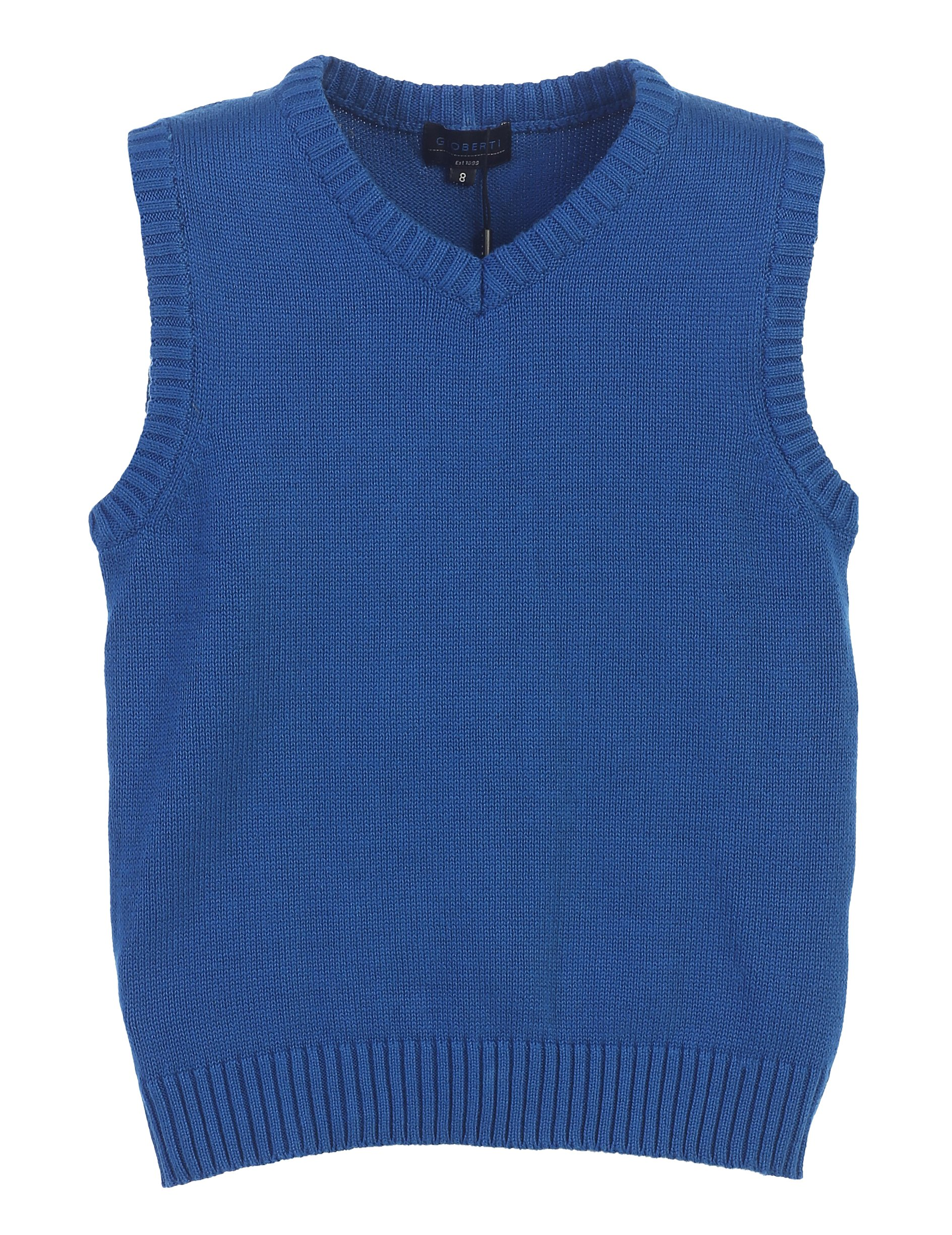 Gioberti Boy's V-Neck Knitted Pullover Sweater Vest, Royal Blue, Size 2T