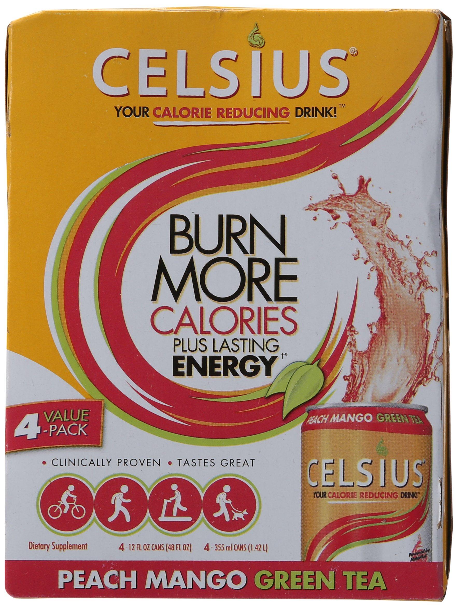 Celsius Peach Mango Green Tea 12 oz - 4 Cans