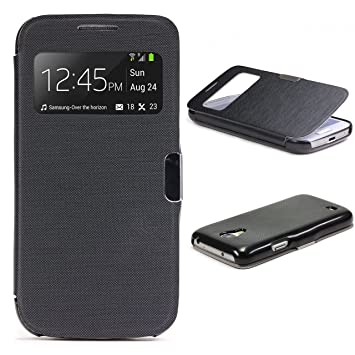 Urcover Funda compatible con Samsung Galaxy S4 Mini S-view Carcasa con tapa Libro cierre magnetico, Billetera Flip Case protección pantalla con ...