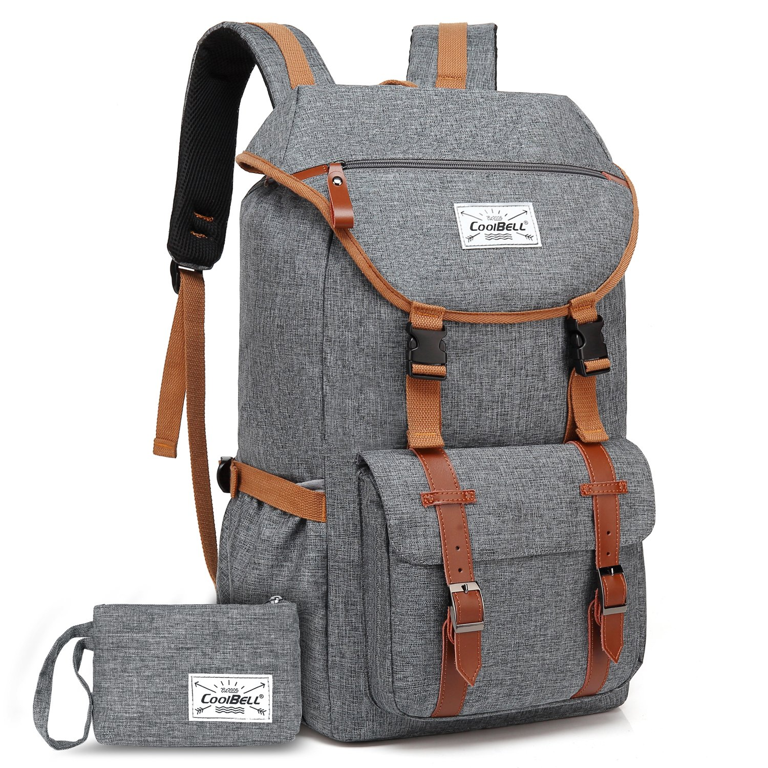 Travel Backpack CoolBELL 17.3 Inches Laptop Backpack Leisure Outdoor Rucksack Hiking Knapsack Daypack Multi-Functional Business Bag for/Men/Women/College (38L, Grey) by CoolBELL