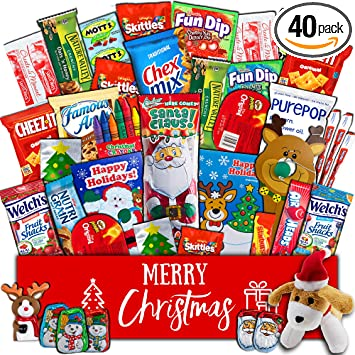 84feafb34a Christmas Gift Package - (40 count) Classic Snacks Box with Assortment of  Festive Holiday