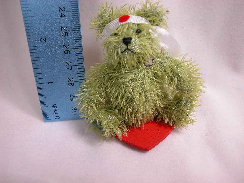 "World Of Miniature Bears Dollhouse Miniature 3.25/"" Plush Bear Battle Scars #761"