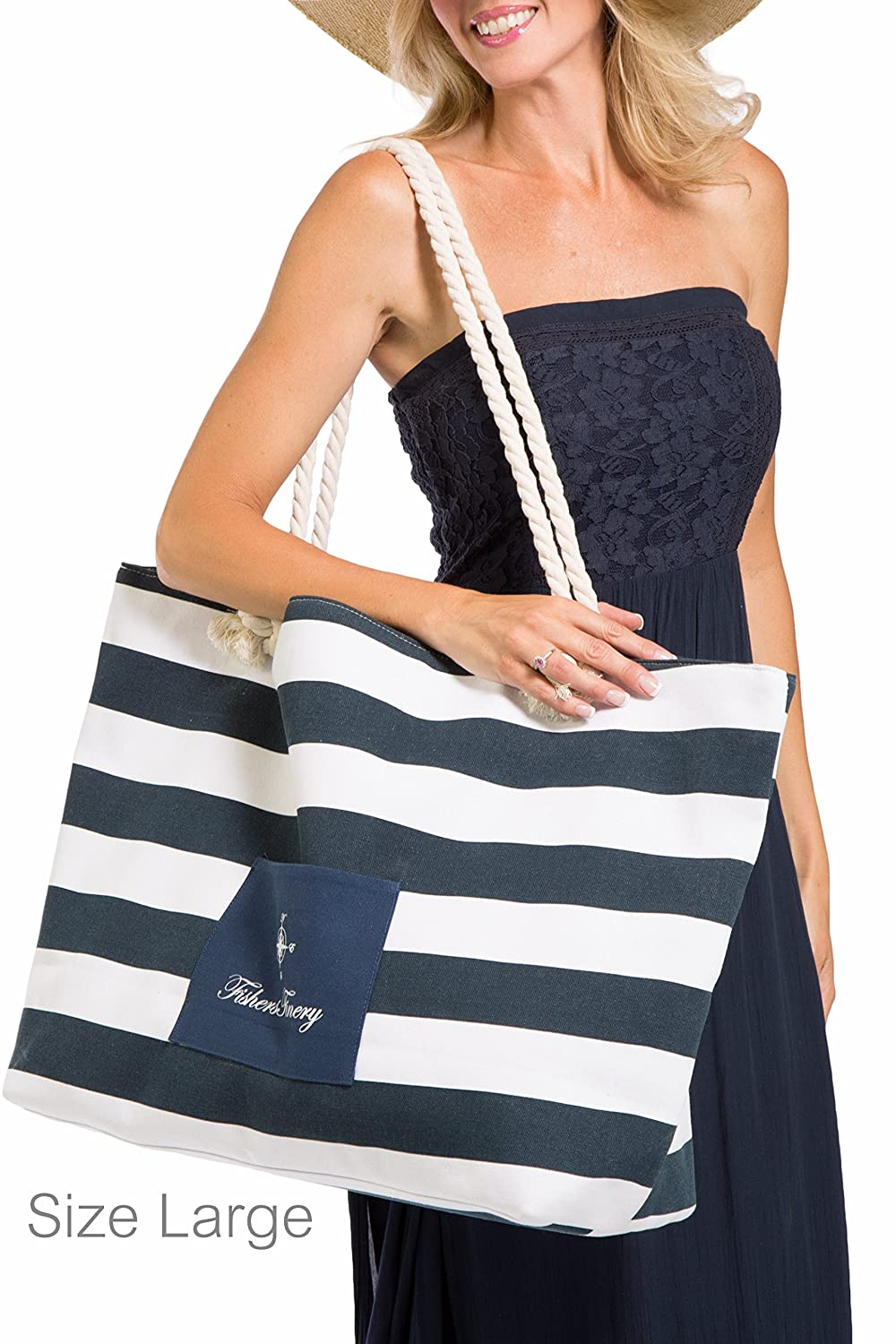 Amazon.com | Fishers Finery Day At the Beach Beach Bag, Room for ...