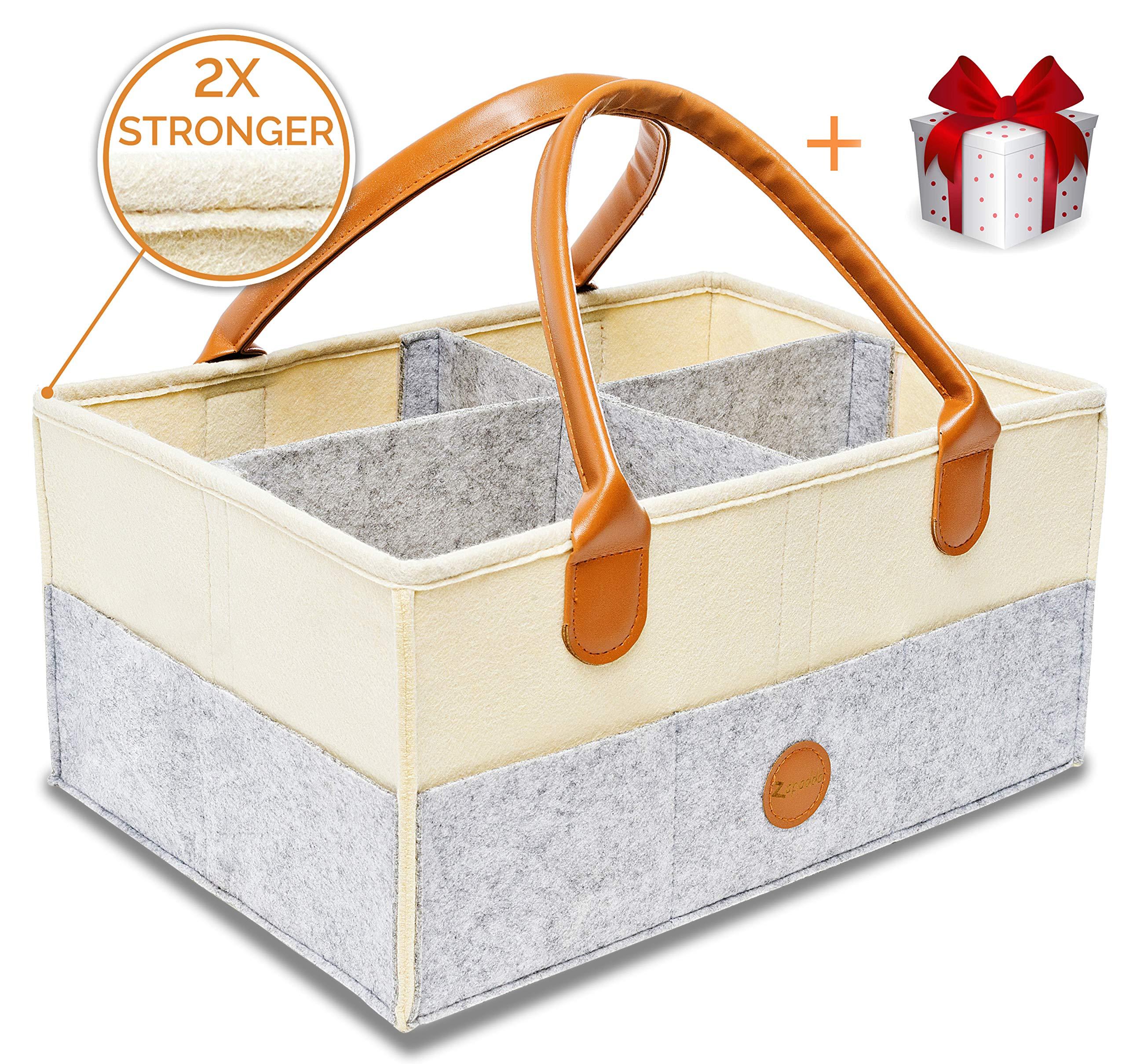 Baby Diaper Caddy Organizer | Nursery Storage Bin | Sturdy Diaper Caddy Storage Bin for Changing Table | Baby Shower Gift Basket Boys Girls | Newborn Registry Must Have | Large Portable Car Travel Bag