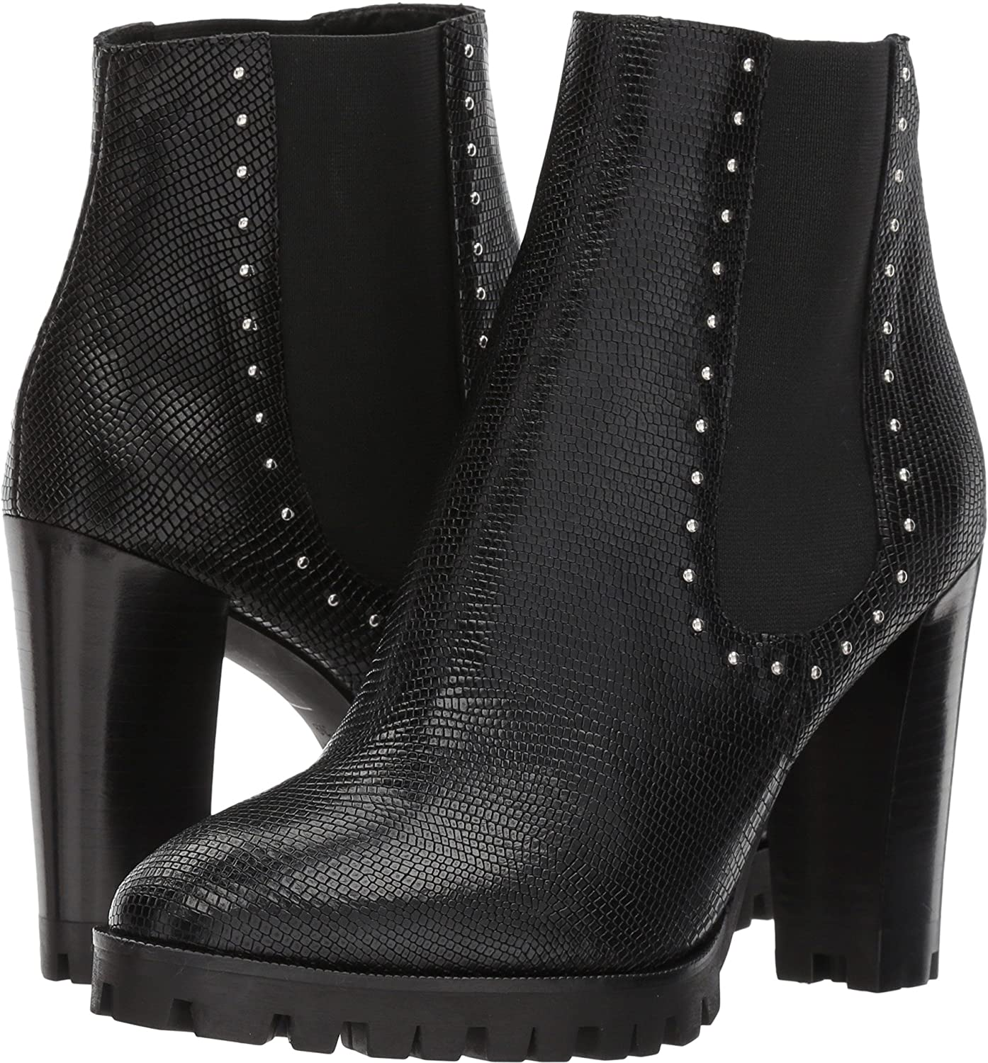 7178d8b4463 Amazon.com | The Kooples Women's Reptile-Effect Leather Boots with Studs  Black 35 M EU | Shoes