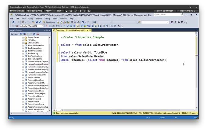 .com: querying data with transact-sql - exam 70-761 ...