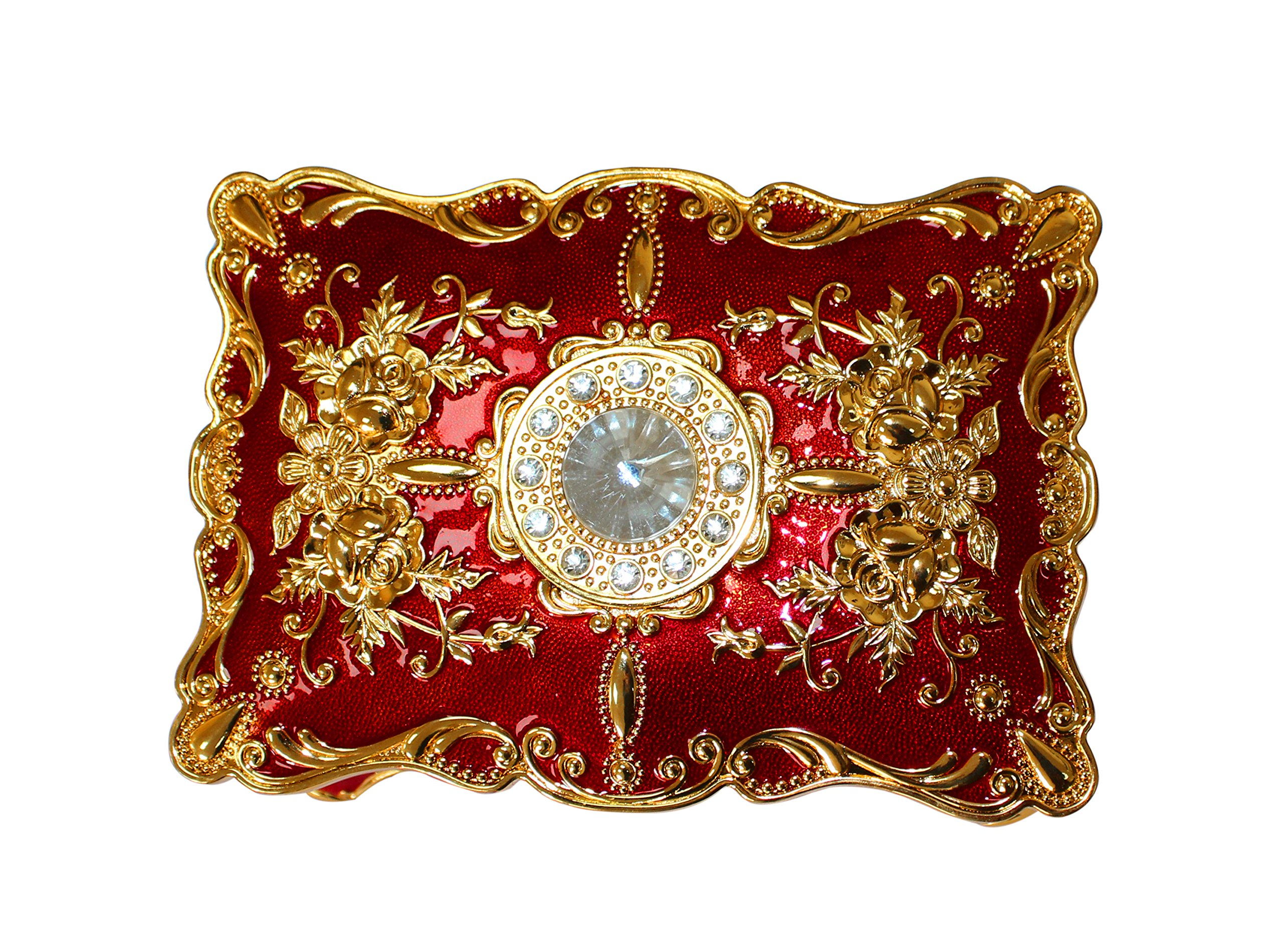 Goddess Area Vintage Jewelry Box with Ornate Antique Finish Rectangular Trinket (Red) by Goddess Area (Image #4)