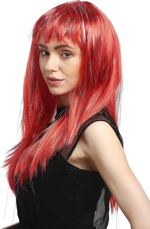 XR-003-PC13 Parrucca Carnevale Donna Lunga Liscia Frangetta Rosso Ciocche Glitterate Argentate Circa 55 cm WIG ME UP