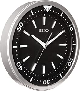 """Seiko 14"""" Ultra-Modern Watch Face Black & Silver Tone with Quiet Sweep Wall Clock"""