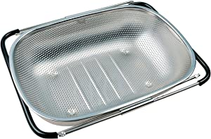 Stainless Steel Over the Sink Strainer, Kitchen Colander, Perforated with Extendable Arms for Vegetable, Fruits and Pasta (5 quart)