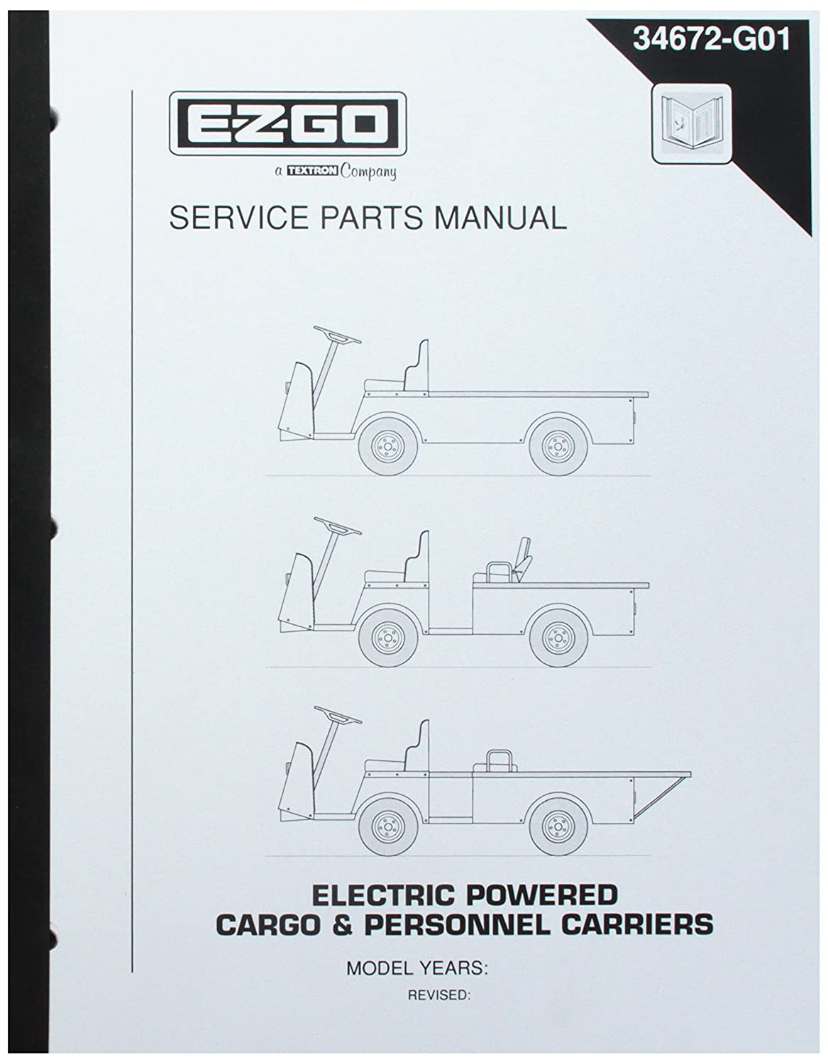 Amazon.com : EZGO 34672G01 1998-1999 Service Parts Manual for Electric  Cargo and Personnel Carrier Utility Vehicles : Outdoor Decorative Fences :  Garden & ...