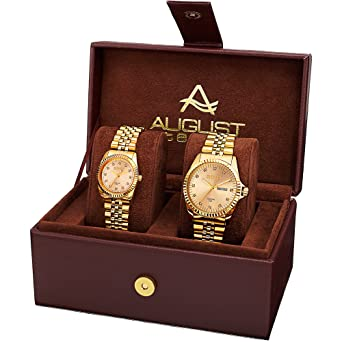 0b7043f55962 August Steiner AS8201 Matching His and Hers Glamorous Watch Gift Set-  Stainless Steel Bracelet -