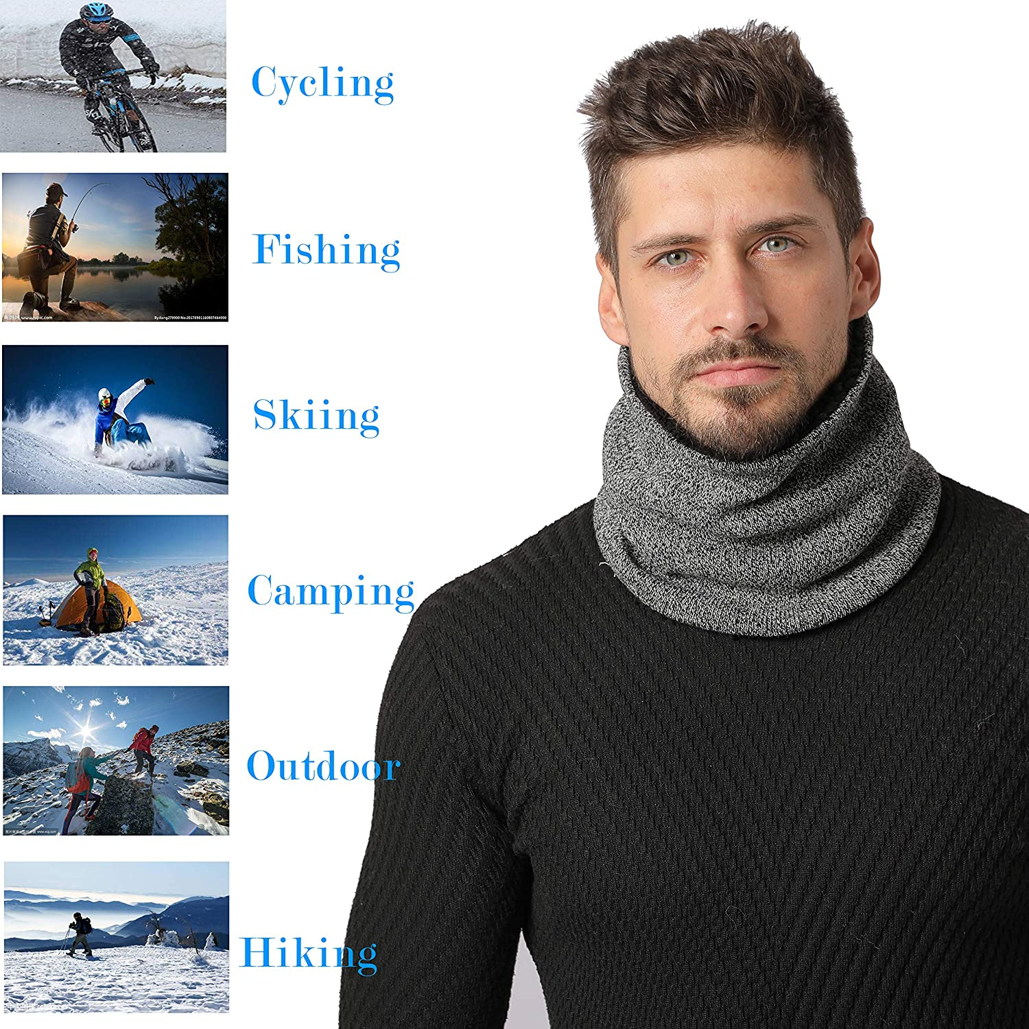 NovForth Winter Double-Layer Fleece Neck Warmer Knitted Gaiter Windproof Scarf for Women or Men