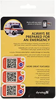 Dynotag Web Enabled Smart Medical ID and Emergency Information Tags with with DynoIQ & Lifetime Service
