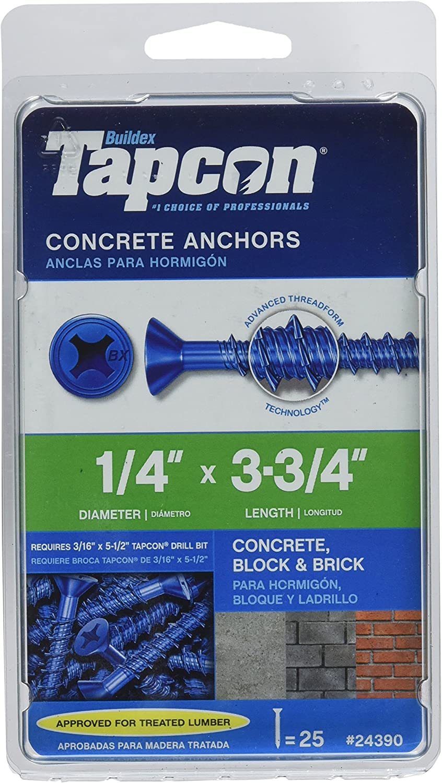 "1,500 Pack 1//4/"" X 1-3//4/"" Flat Head Concrete Masonry Tapcon Anchor Screw"