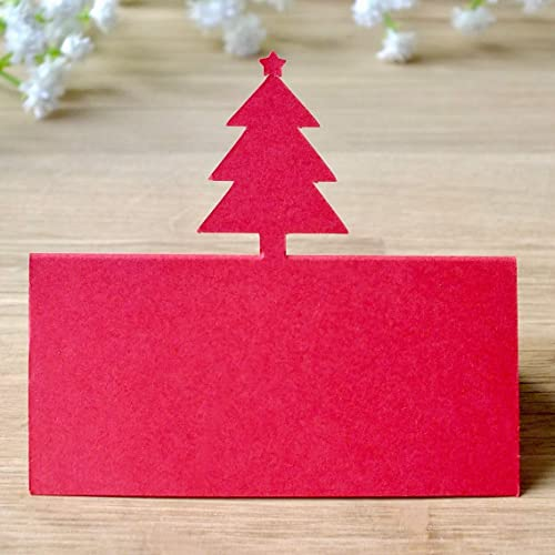 Red Christmas Tree Place Cards Holiday Wedding Table Names Guest