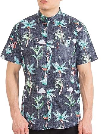 f1b26069 Mens Button Up Short Sleeve Shirt Big and Tall Flamingo Hawaiian Aloha  Floral Shirts 3XL
