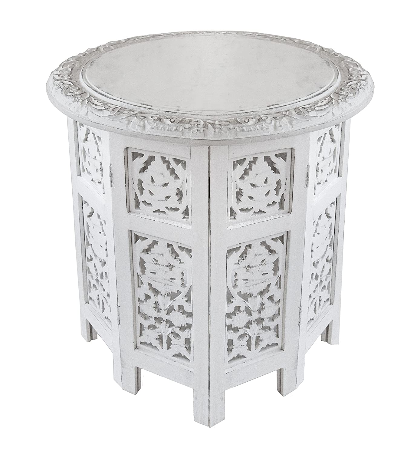 Amazon com cotton craft jaipur solid wood handcrafted carved folding accent coffee table antique white 18 inch round top x 18 inch high kitchen