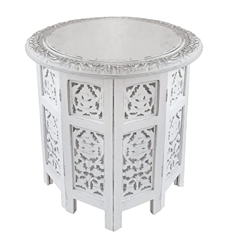 Amazon com  Cotton Craft   Jaipur Solid Wood Handcrafted Carved Folding  Accent Coffee Table   Antique White   18 Inch Round Top x 18 Inch High   Kitchen. Amazon com  Cotton Craft   Jaipur Solid Wood Handcrafted Carved