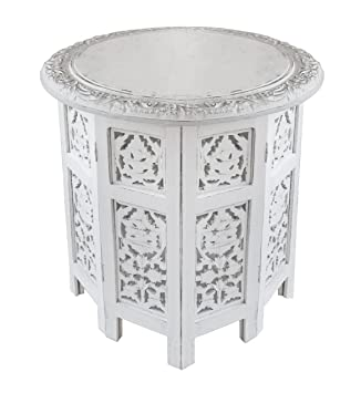 Cotton Craft   Jaipur Solid Wood Handcrafted Carved Folding Accent Coffee  Table   Antique White