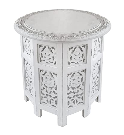 Cotton Craft Jaipur Solid Wood Handcrafted Carved Folding Accent Coffee  Table   Antique White   18
