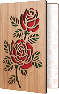 HeartspaceCards Mother's Day Card Rose Design: Made with Real Wood; Anniversary Card for Husband Or Wife