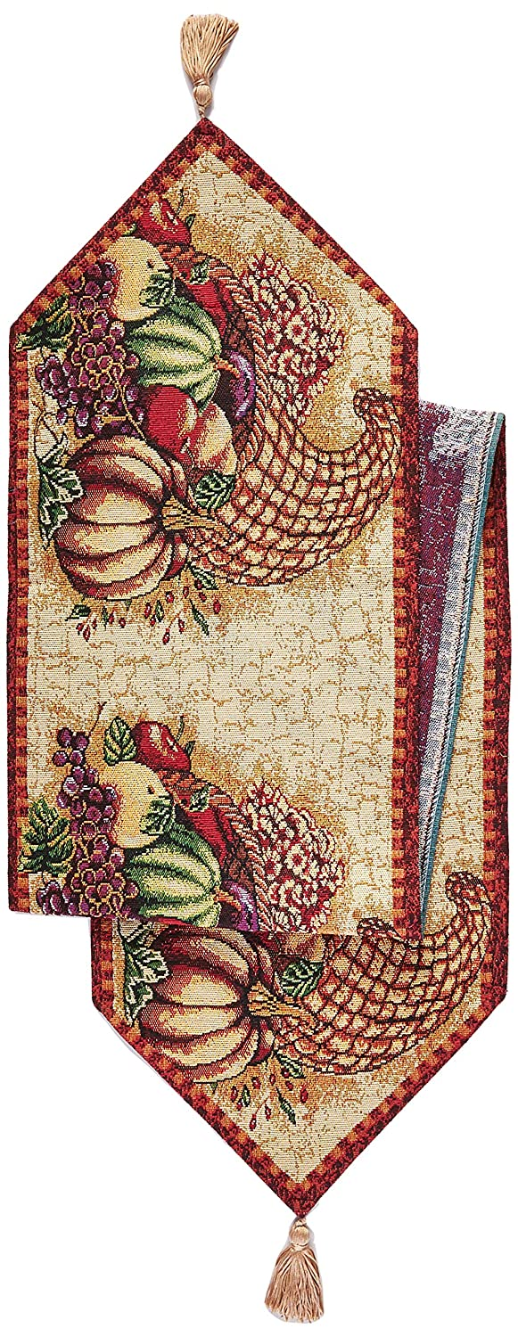 """HomeCrate Fall Harvest Collection, Tapestry Cornucopia with Pumpkins and Fruits Design Table Runner, 13"""" x 70"""""""