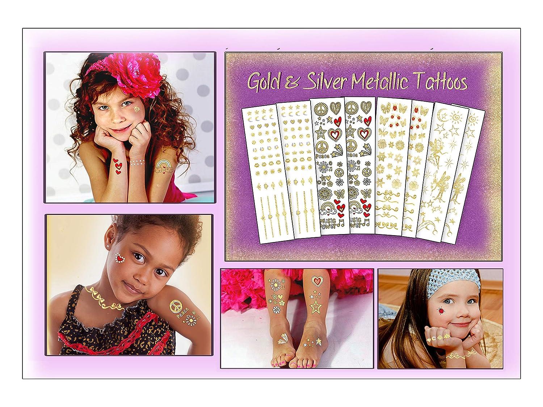 Kids – Metallic Gold & Silver Temporary Tattoos