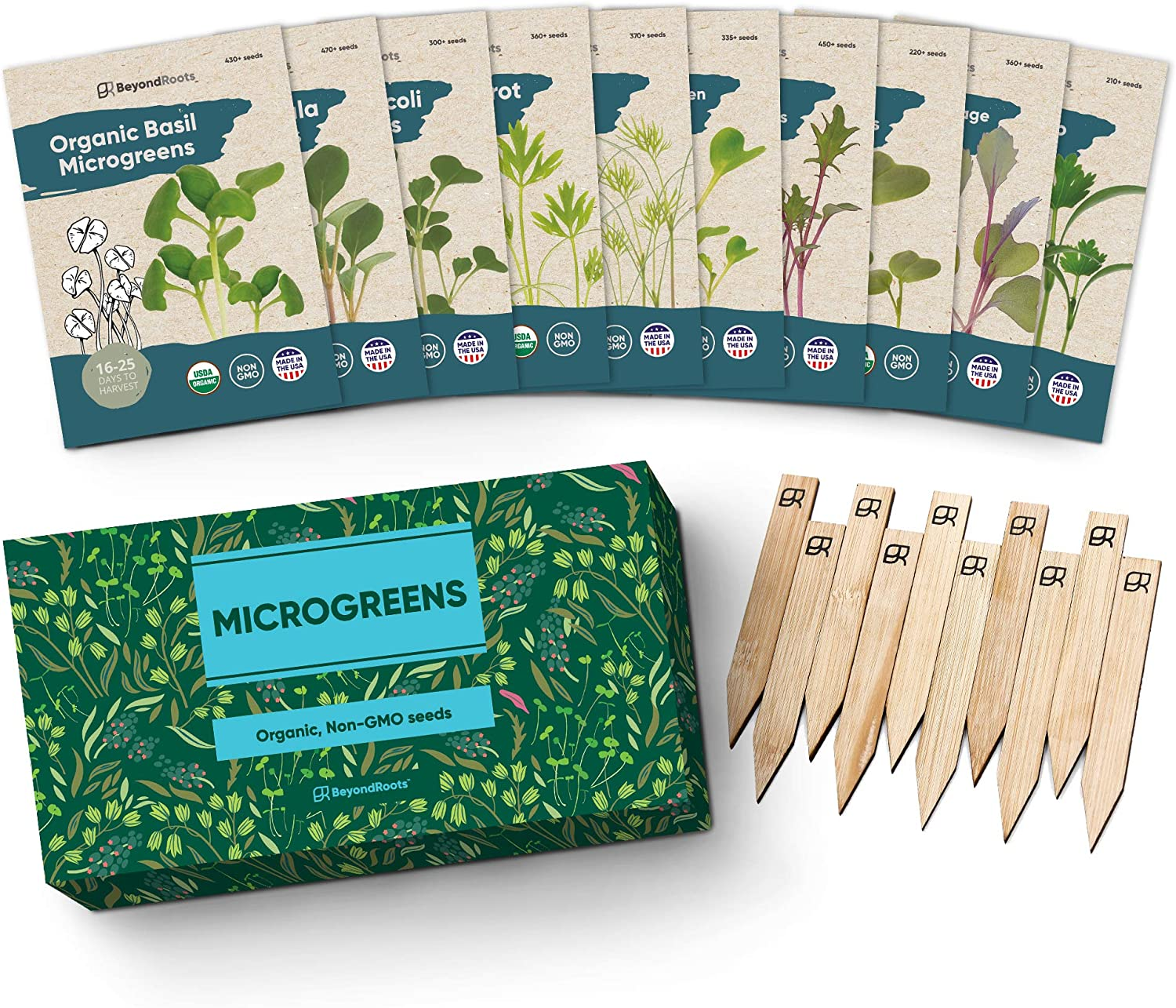 Organic Microgreens Seeds for Sprouting Variety Pack - 100% USDA Organic Sprouting Seeds - 10 Heirloom Seed Packets & Plant Markers