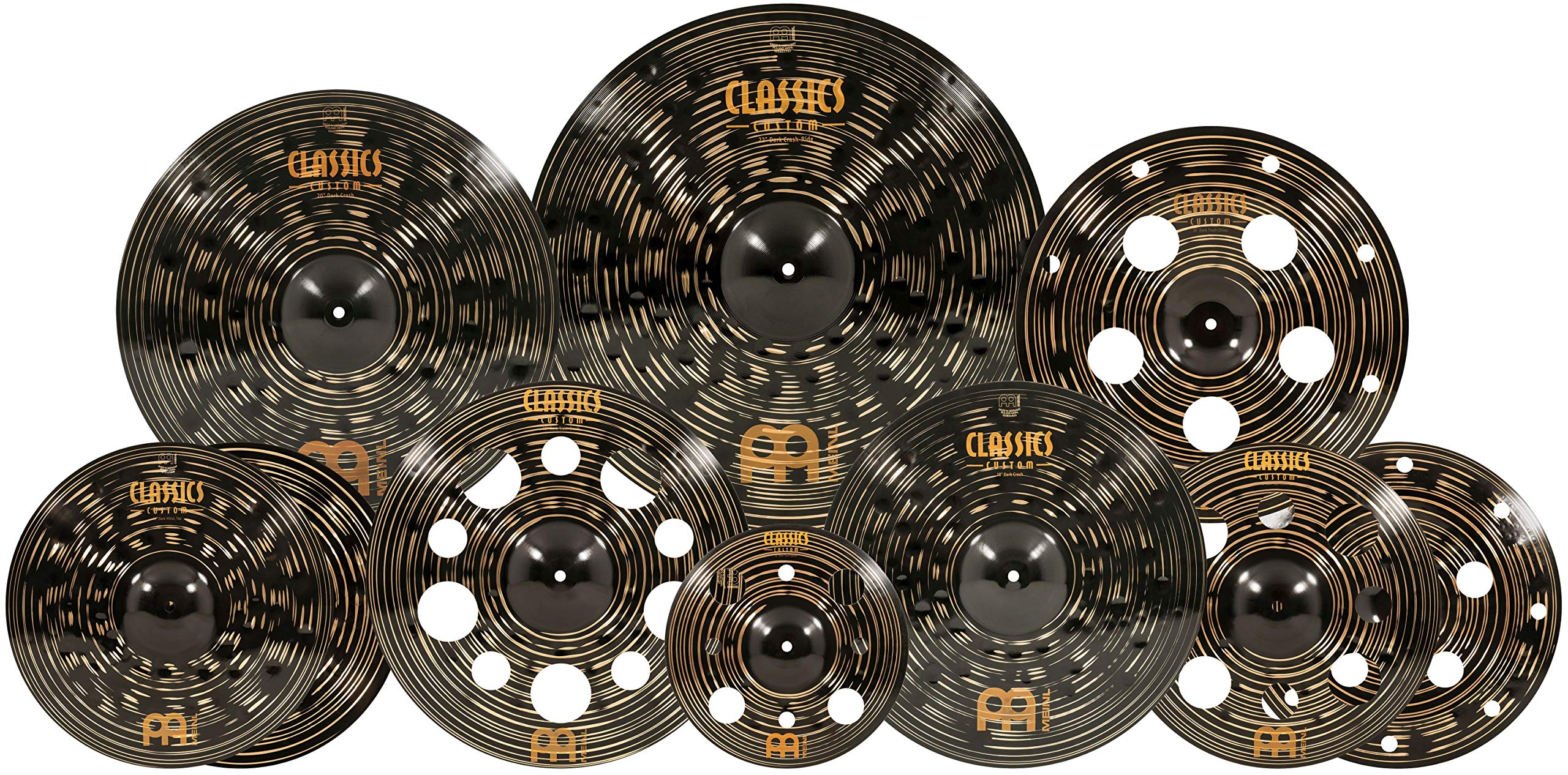 Meinl Cymbals Cymbal Set Hihats, 22 Ride, 20 China, 16 Stack, Plus a Free 18 Crash and 12'' Trash Splash - Classics Custom Dark - Made in Germany, Two-Year Warranty, Ultimate (CCD-ES2) by Meinl Cymbals