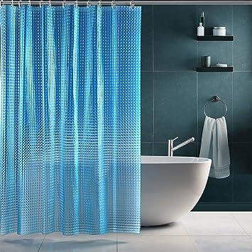 Sparin Rideau De Douche Eva Etanche 3d Rideaux Salle De Bain Toilettes Rideau Douche Anti Moisissure 180x180cm 12 Anneaux Fournis Bleu