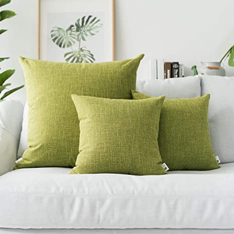 Amazon Com Kevin Textile 2 Packs Throw Pillow Cases Textural Faux Linen Decor Star Cushion Cover For Living Room 26x26 Inches Linden Green Home Kitchen