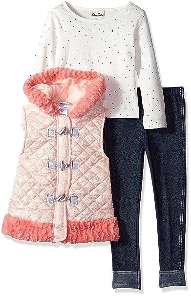 350ad75efc3b Amazon.com: Little Lass Girls' 3 Pc Sparkle Puffer Vest Set: Clothing