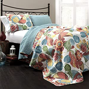 Lush Decor Layla Quilt Floral Leaf Print 3 Piece Reversible Bedding Set, King, Orange & Blue