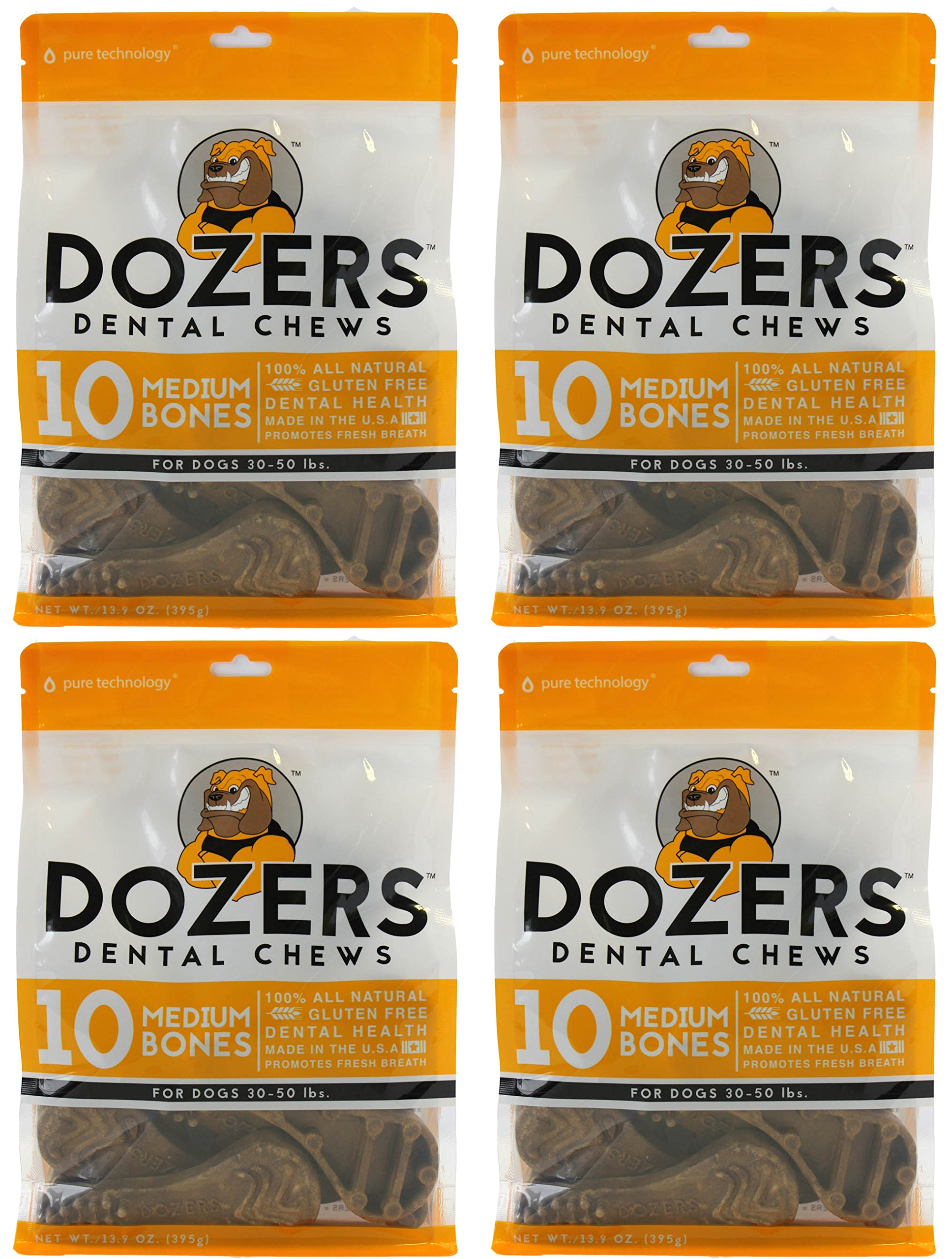 Dozers Dental Dog Chews - 100% All Natural Ingredients - Gluten Free Dental Healthy Delicious Dog Treat - Promotes Fresh Breath (Brush Medium, 4 Bags) by Dozers