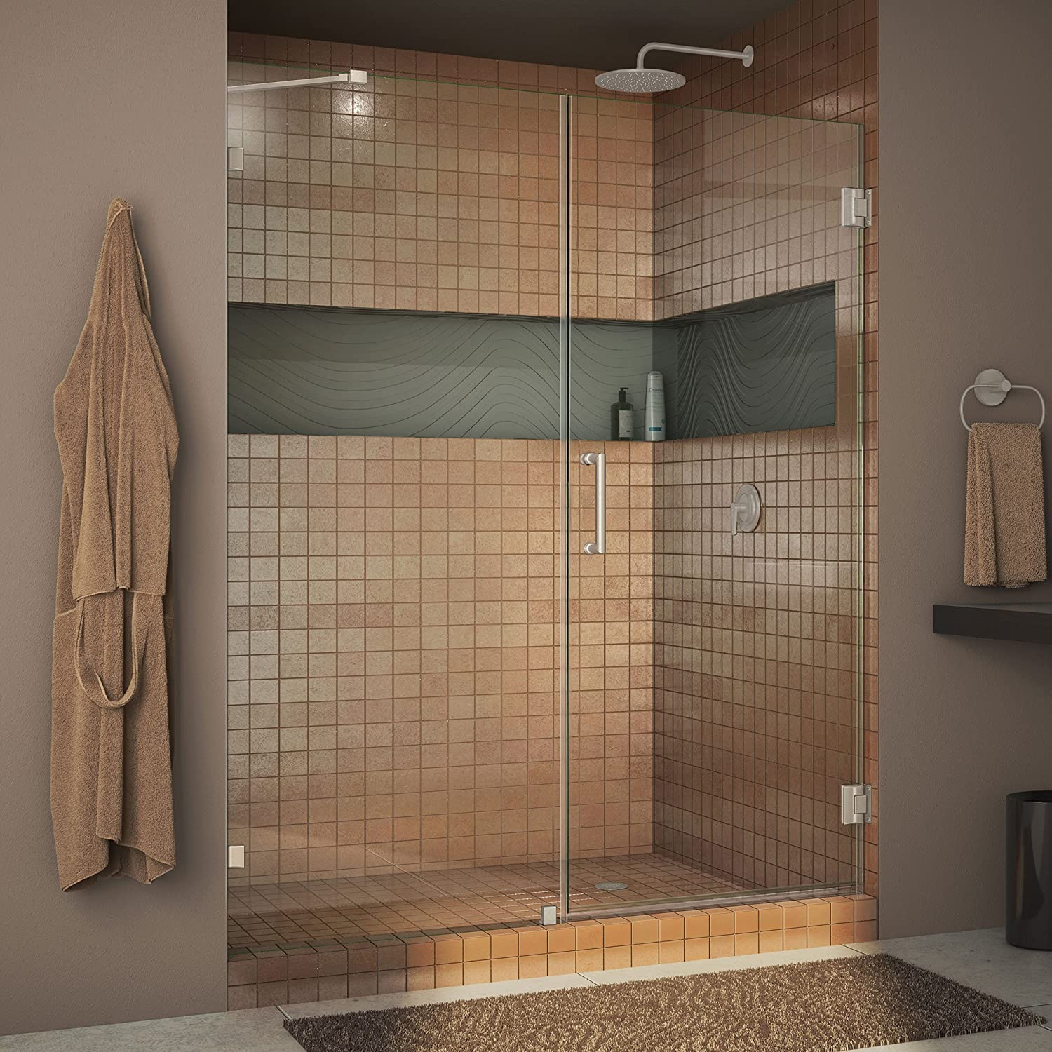 DreamLine Unidoor Lux 60 in. W x 72 in. H Fully Frameless Hinged Shower Door with Support Arm in Brushed Nickel, SHDR-23607210-04
