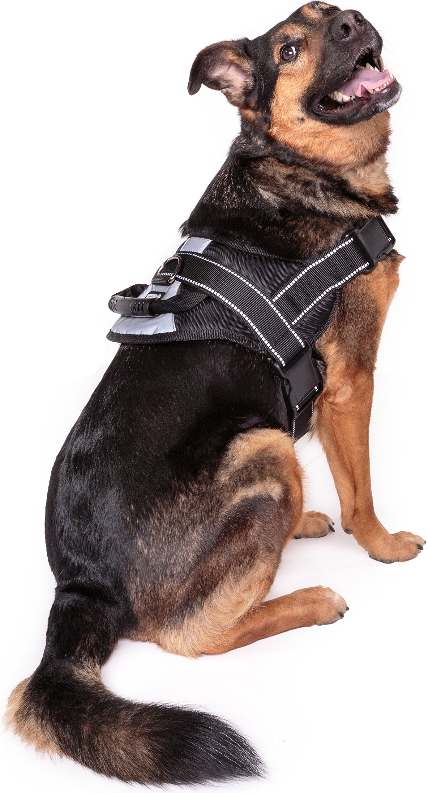 Friends Forever No Pull Dog Harness Large Breed - Training Harnesses for Large Dogs, Black Dog Vest with Handle & 3M Reflective Material for Extra Control and Safety L Size