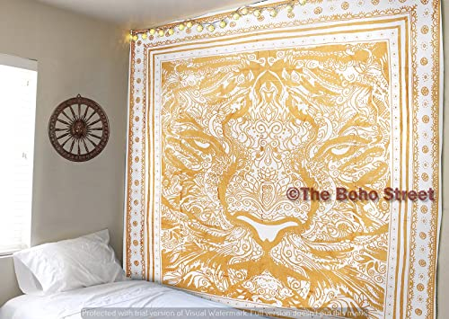 The Boho Street Sparkling Gold Ink Tiger Face 100 Cotton Queen Wall Hanging Tapestry