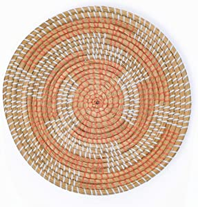 Artera Wicker Wall Basket Decor - Hanging Woven Seagrass Flat Baskets, Round Boho Wall Basket Decor for Living Room or Bedroom, Unique Wall Art. (16