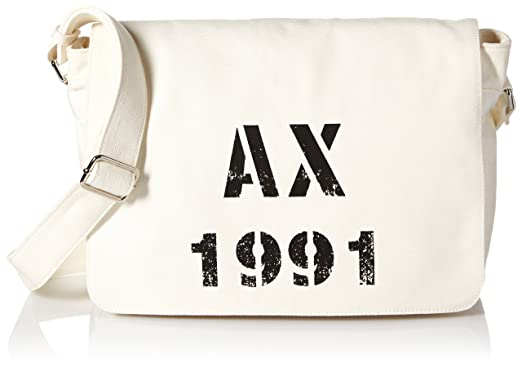 92937feee1a4 Amazon.com  Armani Exchange Men s Printed Ax Logo Canvas Messenger ...