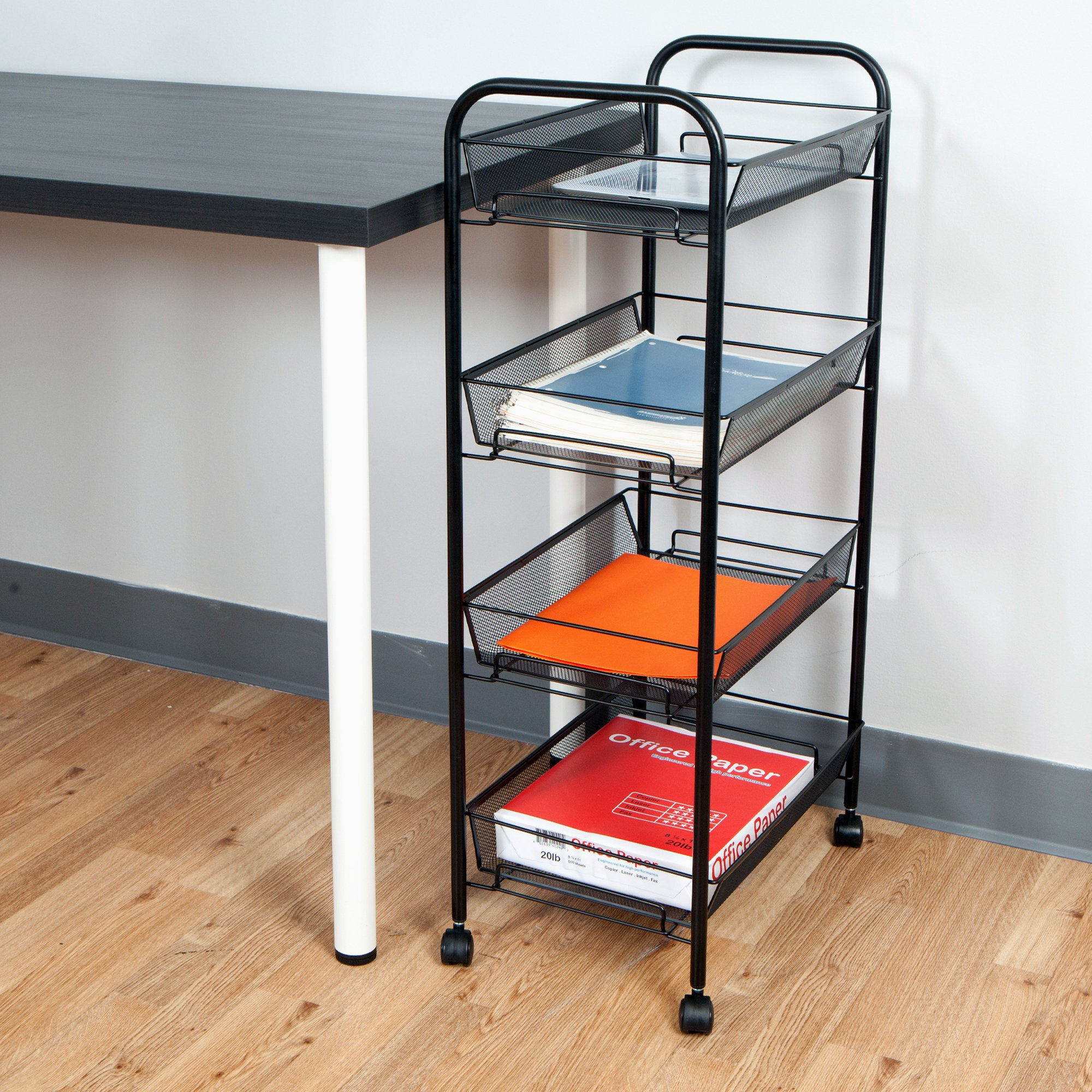Mind Reader Metal 4 Tier all-Purpose Utility Cart, Black by Mind Reader (Image #2)