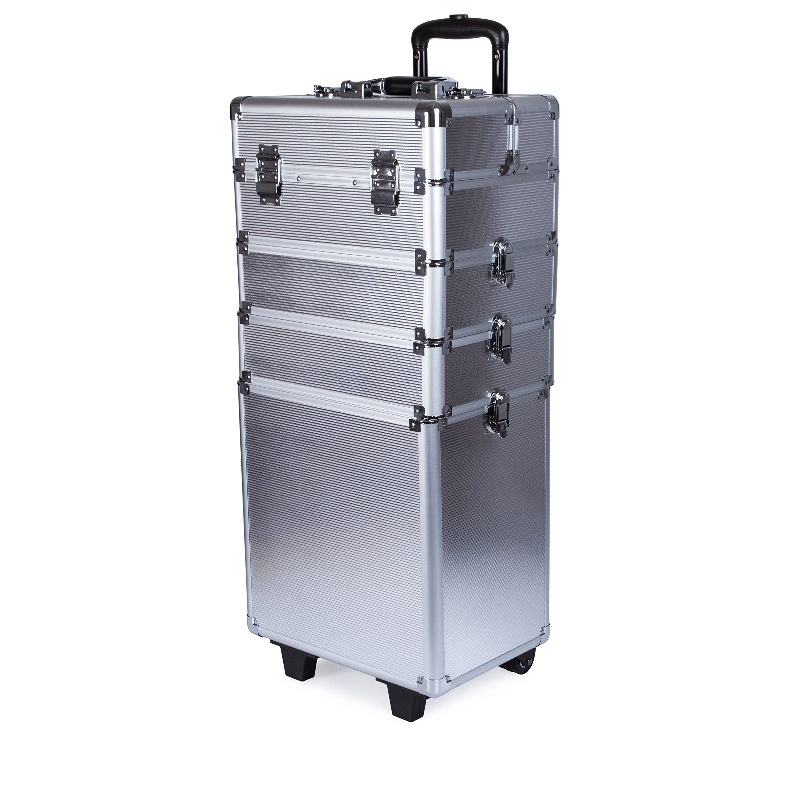 4 in 1 Professional Multifunction Artist Rolling Trolley Makeup Beauty Train Case Cosmetic Organizer (Silver)
