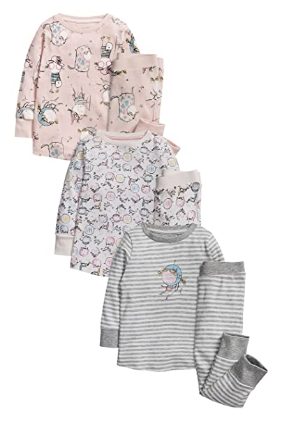 next Niñas Pack De Tres Pijamas Abrigados Niña Corte Estándar 7-8 años