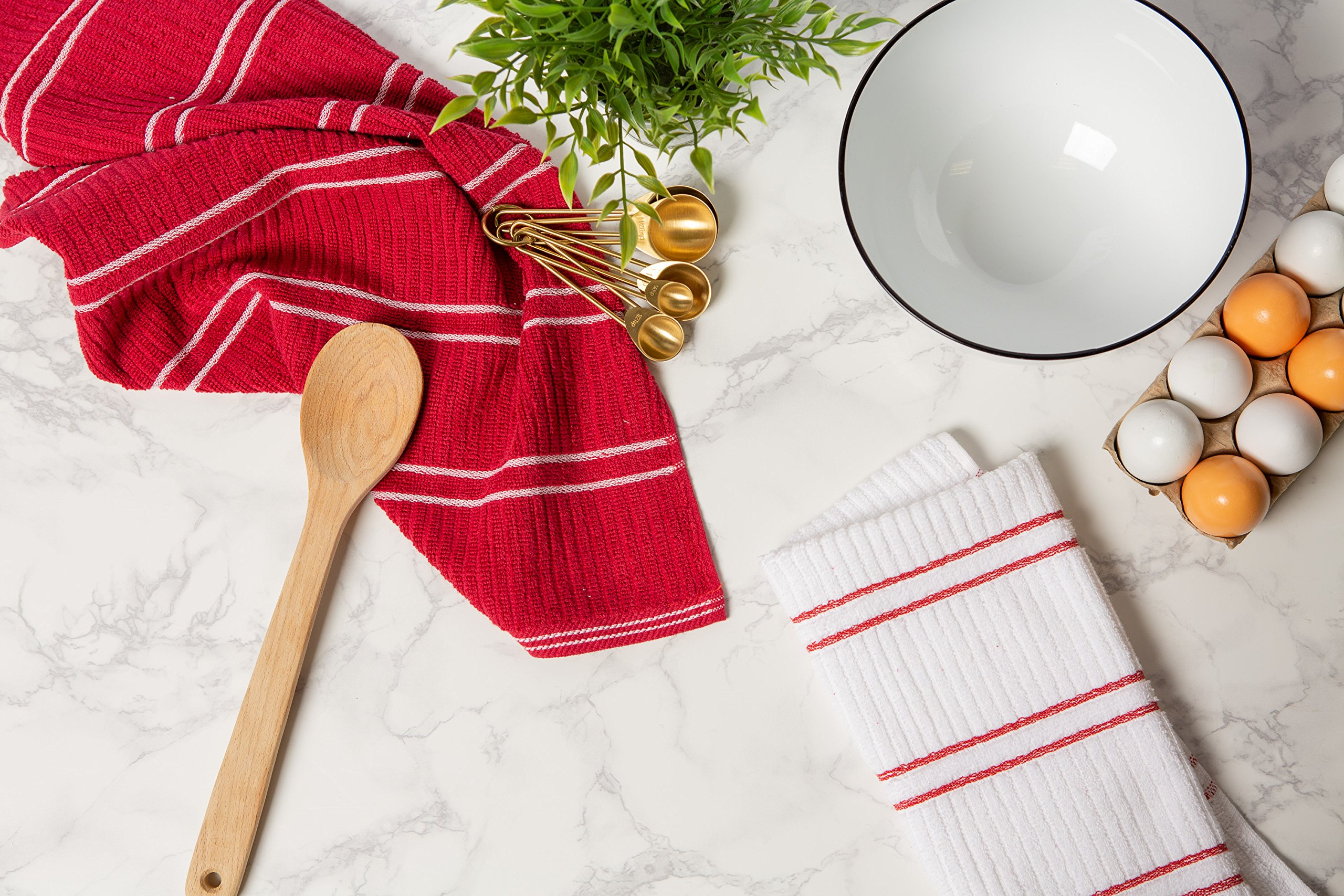 J&M Home Fashions Ribbed Terry Kitchen Dish Towels (16x26 Set of 6 - Assorted Red & White) Absorbent & Durable for Wiping Down Countertops, Dusting, or Drying Dishes by J&M Home Fashions (Image #5)