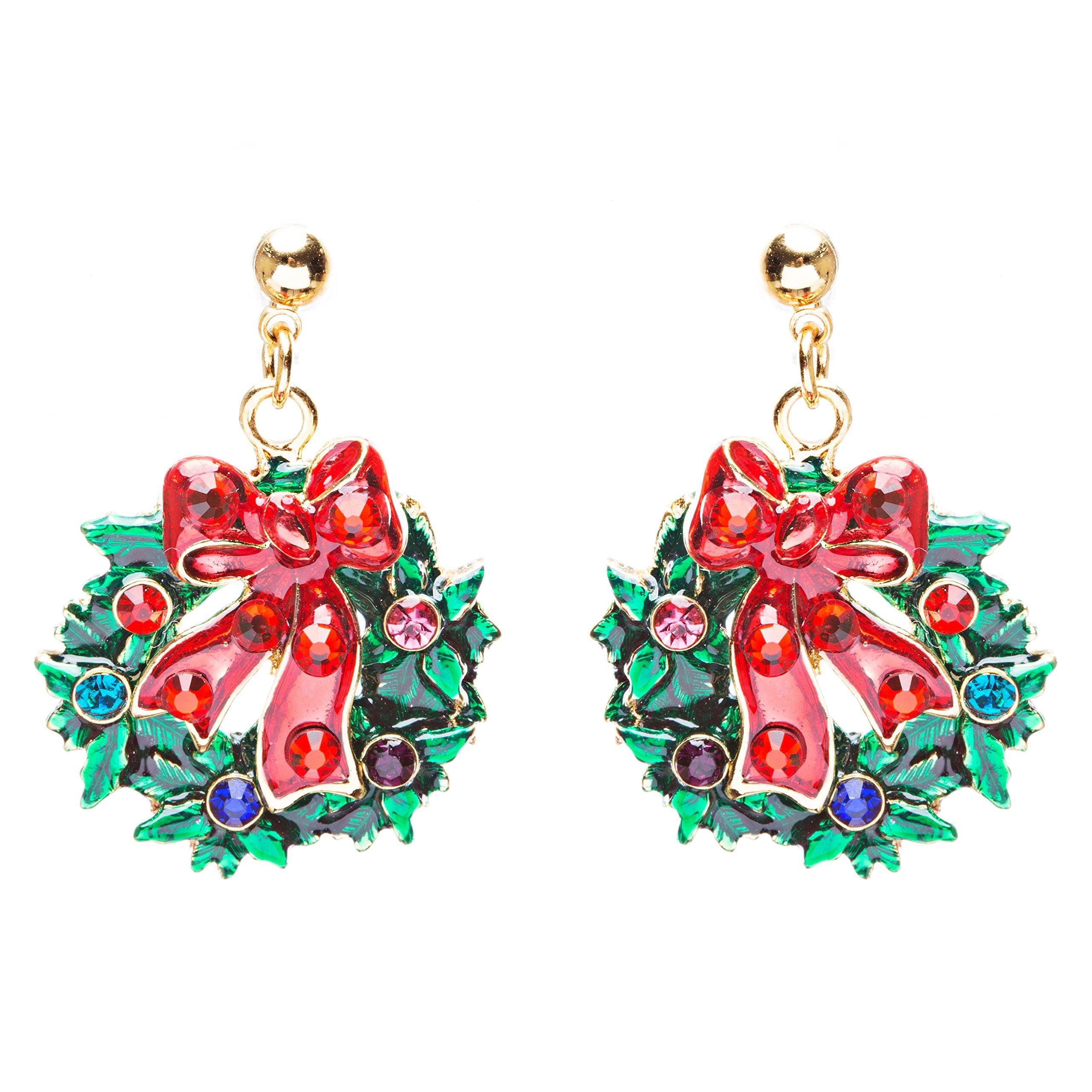 ACCESSORIESFOREVER Women Christmas Jewelry Crystal Rhinestone Santa Wreath Dangle Charm Earrings E879