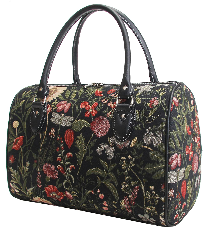 Bolso de viaje grande de moda Signare para mujer en tela de tapiz para el fin de semana o una noche afuera de casa Jardín por la mañana negro TRAV-MGDBK