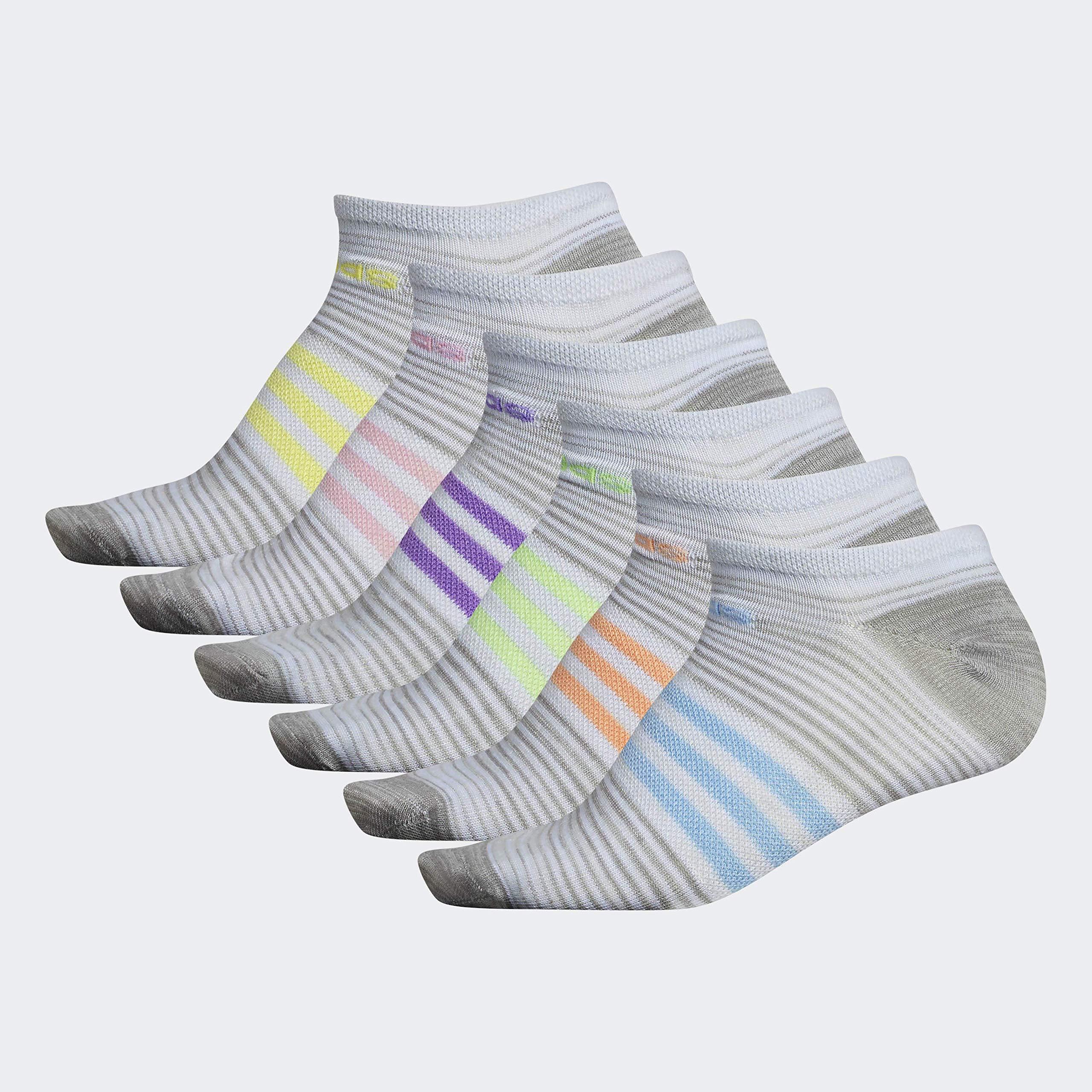 adidas Women's Superlite No Show Socks (6-Pair), Clear Grey - Light Onix Freerun/White - Clear Grey Fre, Medium, (Shoe Size 5-10) by adidas