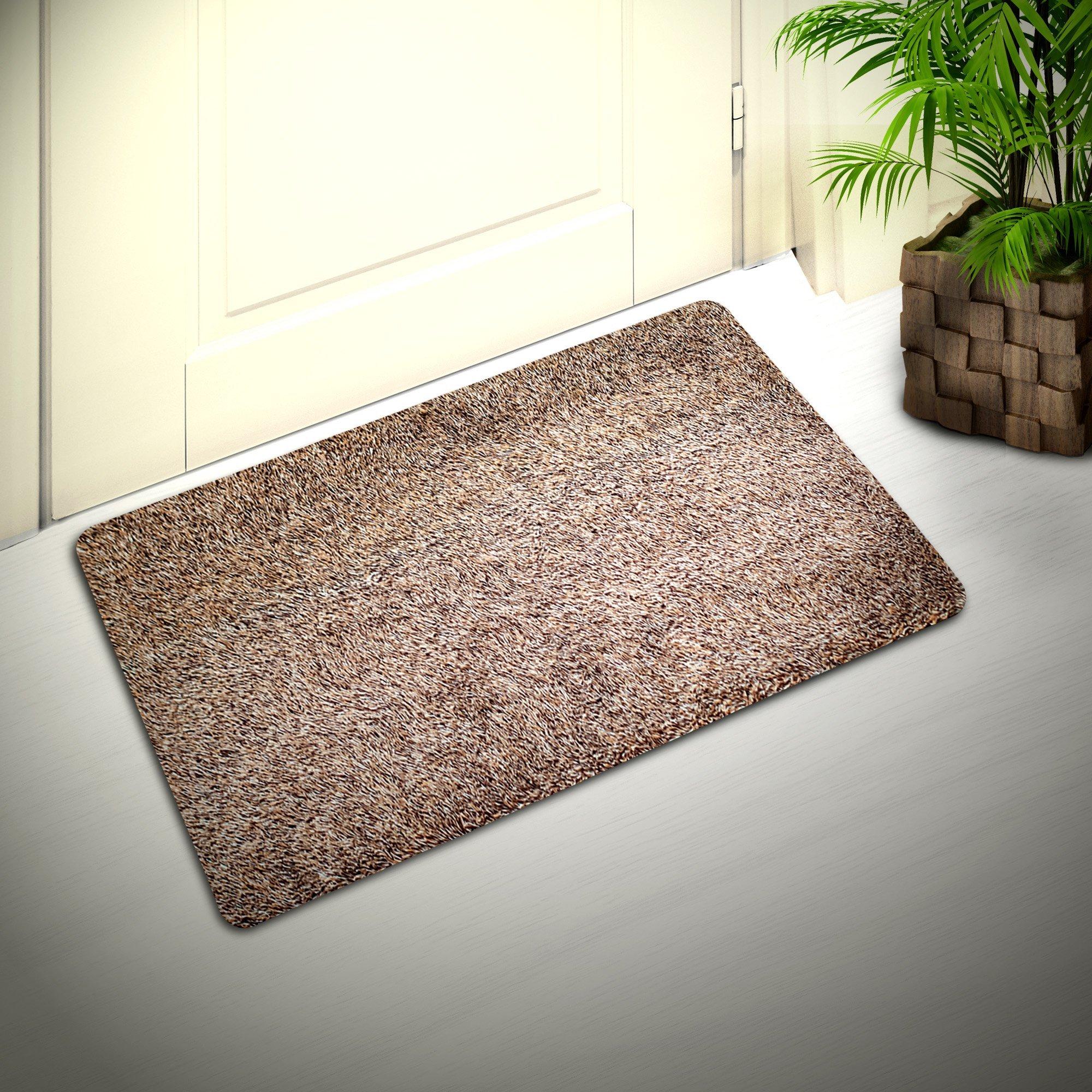 Cozy Corner Inside or Outside Doormat, Shoes Scraper for Front Door Mat, Outdoor Indoor Rug for Patio Kitchen Bathroom, Absorbent Cotton, Microfiber Carpet with Non-Slip Rubber Backing in Brown