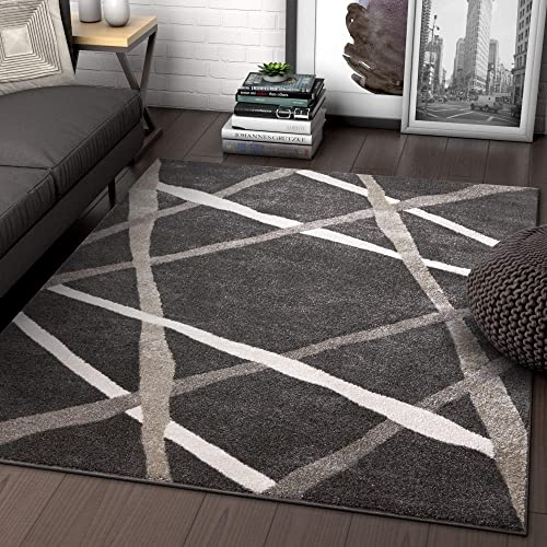 Well Woven Traverse Stripes Grey Geometric Modern Lines Area Rug 8×11 7'10″ x 9'10″ Carpet